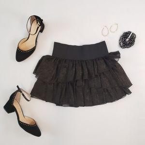 Dresses & Skirts - Elastic Black & Gold Mini Skirt